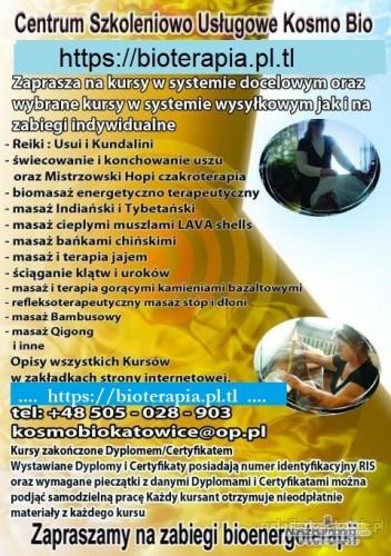 Kurs Reiki stawiania baniek czakroterapii Biomasażu świecowania uszu Terapii jajem Dźwiękiem mis tybetańskich Klumuszko masażu stóp świecowania uszu i inne kursy